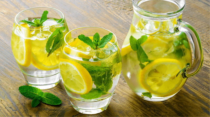 Natural Drink Cucumber, Lemon and Orange to Boost Metabolism