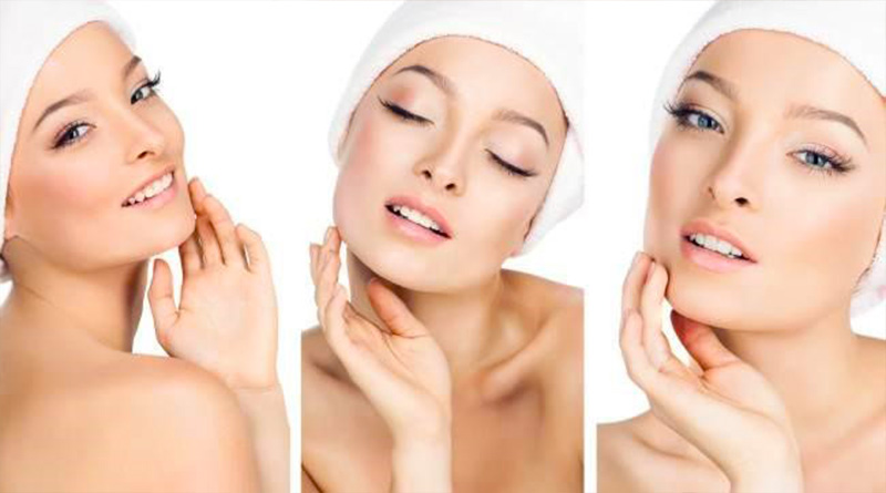 Facial mask to remove hair from the face of the woman